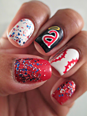 Angel's Baseball, logo, glitter, red white and blue, Julep, America, Fireworks, nails, nail art, nail design, mani
