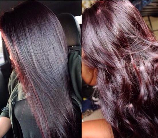 contoh warna rambut burgundy garnier 2 tipe