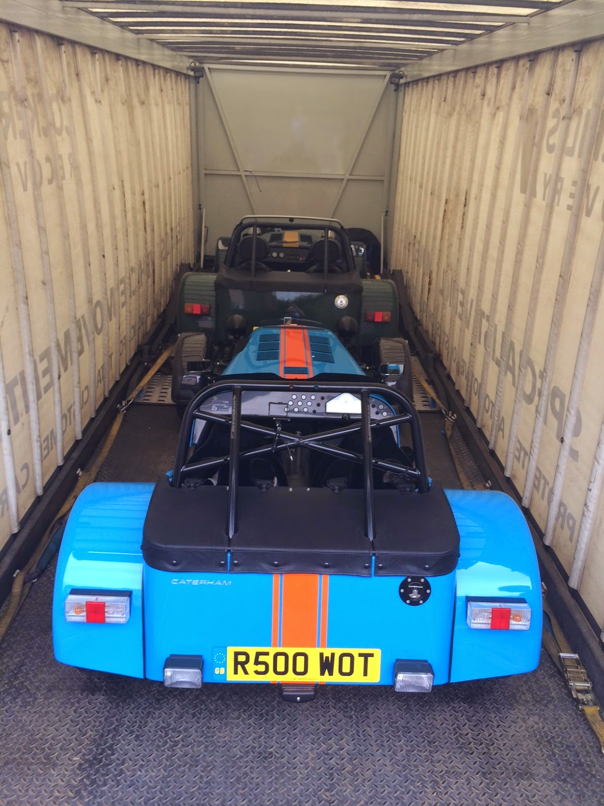 My R500 and Caterham's demonstrator on car transporter
