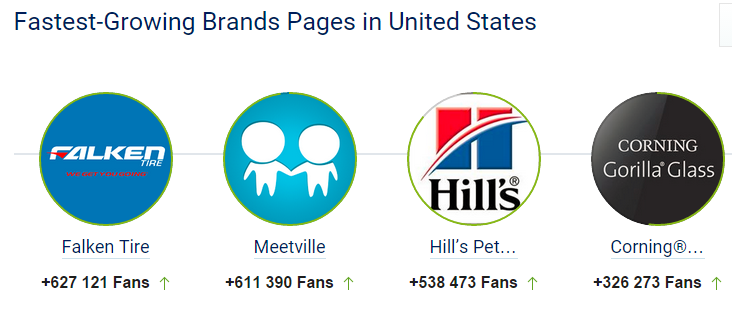 Facebook brands in USA: top 10