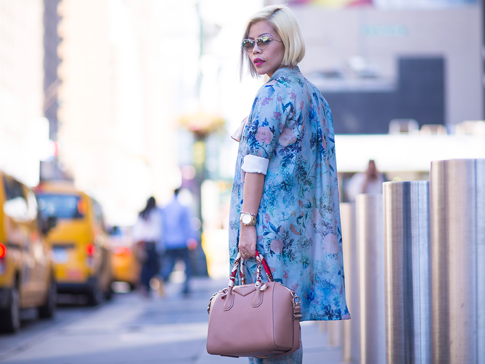 Crystal Phuong- New York Fashion Week Day 5 pretty in a floral pantsuit