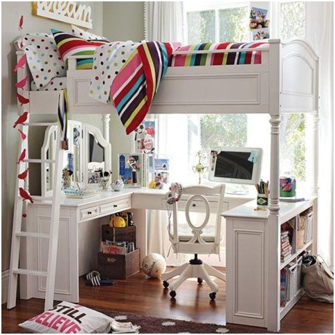 Loft bed with desk student bedroom bedroom decorating for Habitaciones con camas altas