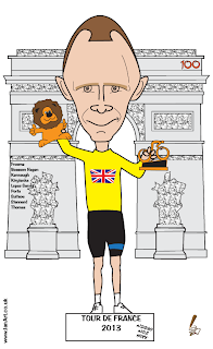 Chirs Froome wins Tour de France caricature