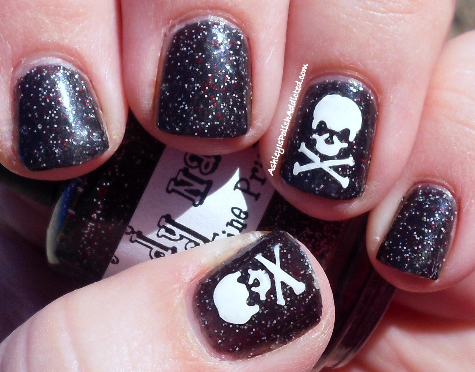 Ashley is polishaddicted skull mani using revlon nail art stencils halloween skull manicure prinsesfo Gallery