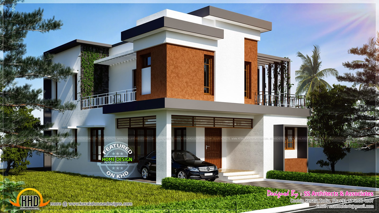 1700 square feet contemporary villa kerala home design for Modern house plans for 1600 sq ft
