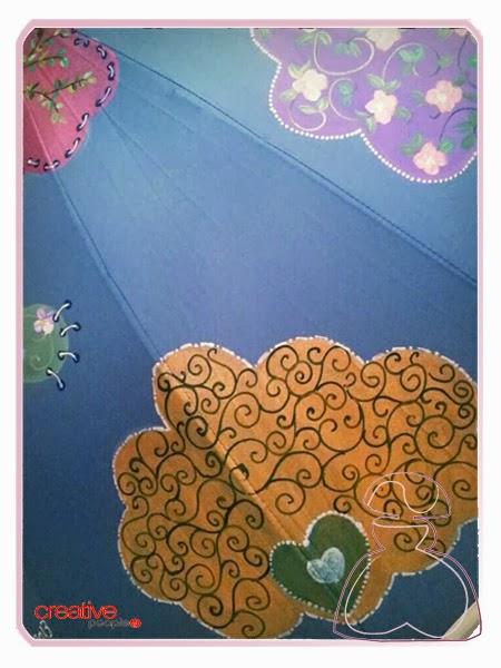 Motivo con corazón del paraguas modelo Nubes pintado a mano por Sylvia López Morant