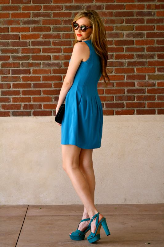 Spiegel Dress- Monochromatic Blue Outfit- Spring Dress- Vince Camuto Shoes-Tory Burch Clutch- Prada Cateye Sunglasses- Golden Divine Blog-personal style blogger