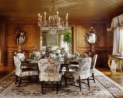 Cindy Rinfret Beautifully Shows How Slipcovers Can Be Used In Even The Most  Formal Dining Rooms With?these Gorgeous Patterned Slipcovered Chairs
