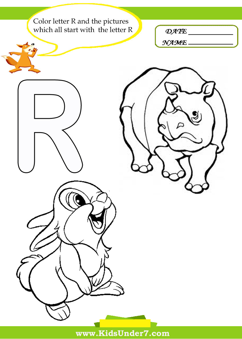 Kids Under 7 Letter R Worksheets and Coloring Pages – Letter R Worksheets for Kindergarten