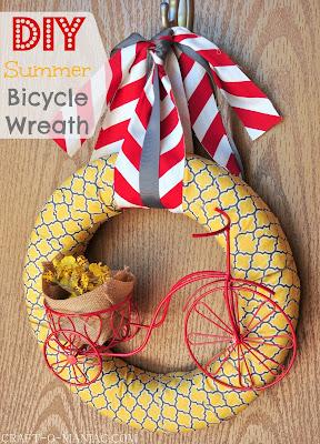 DIY Summer Bicycle Wreath www.craft-o-maniac.com
