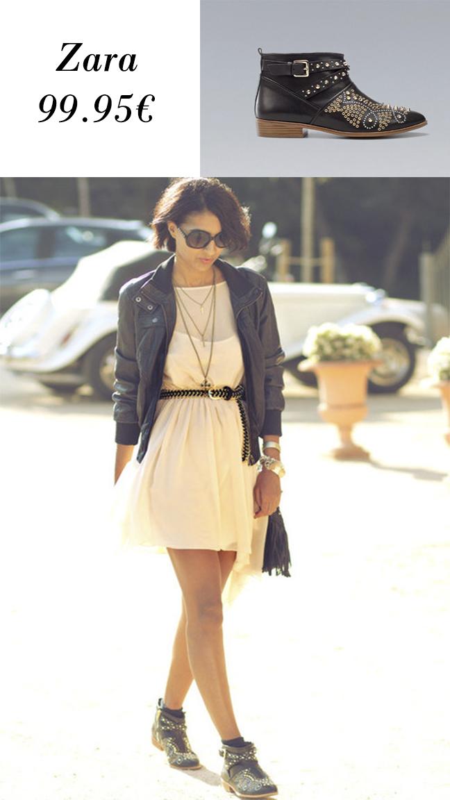 Botines Zara con tachas o tachuelas y look con él de la bloguera Sissy á la Mode