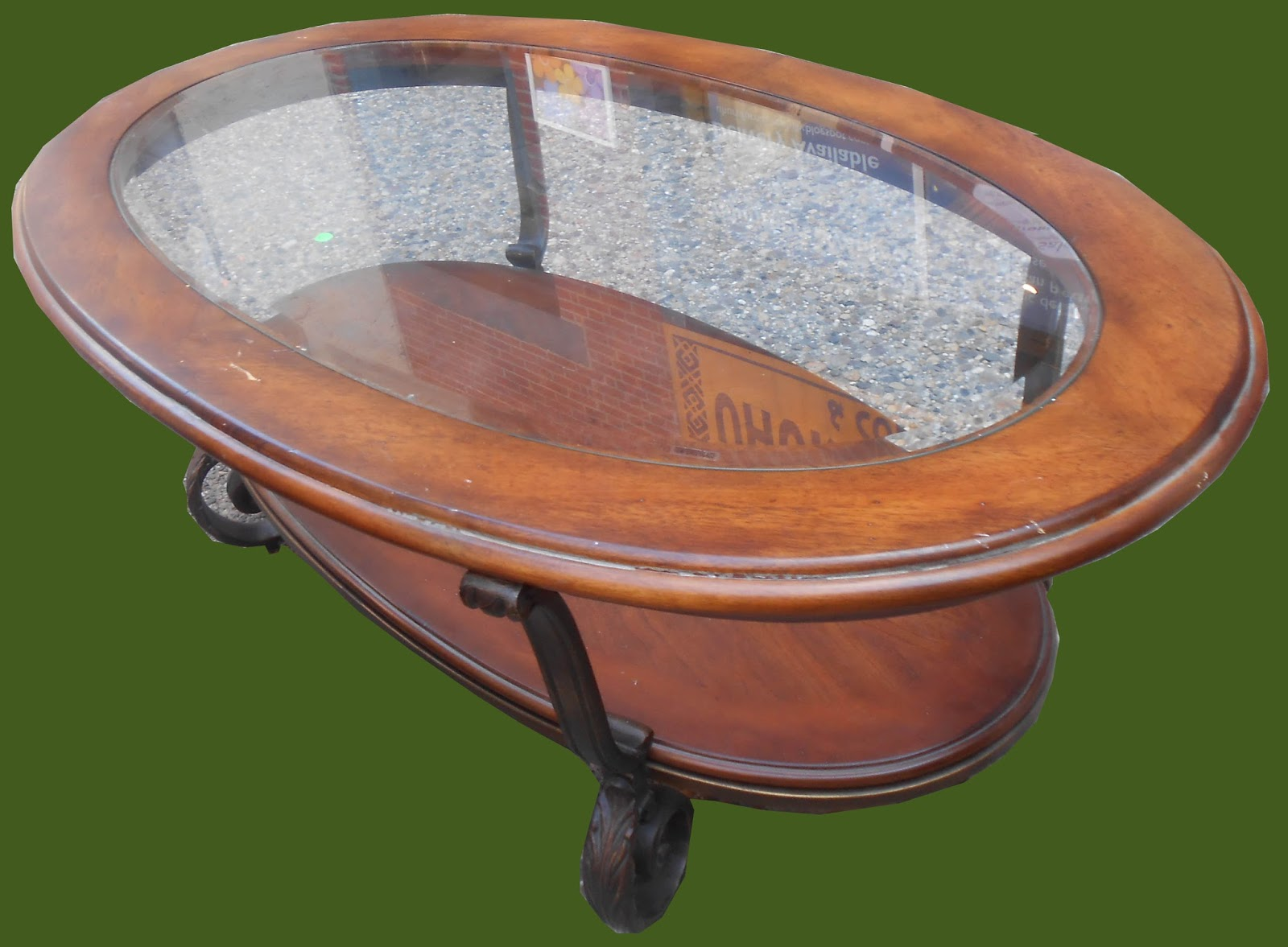 Uhuru Furniture Collectibles Oval Wood Glass Coffee Table Sold