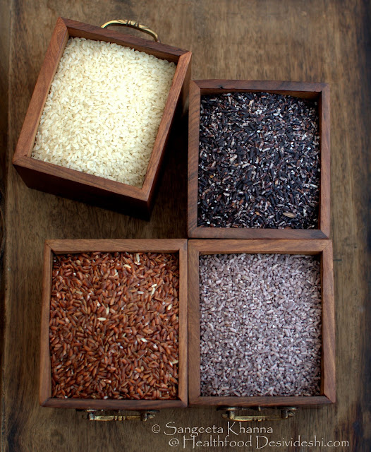 black, purple and red rice varieties of India