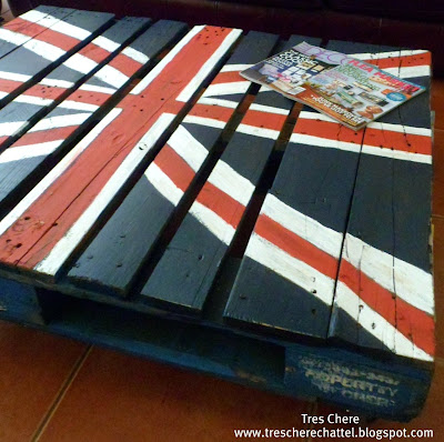 coffee table made out of a pallet and painted to look like the union jack flag