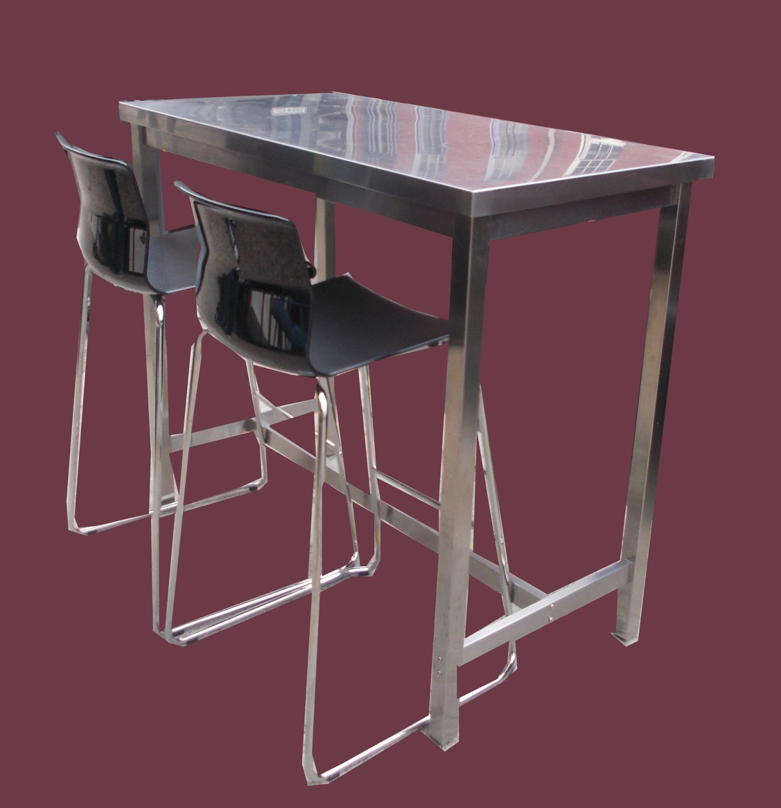 Counter Height Metal Table : ... Collectibles: Stainless Steel Counter Height Table + 2 Stools- SOLD