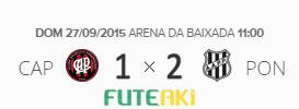 O placar de Atlético-PR 1x2 Ponte Preta pela 28ª rodada do Brasileirão 2015