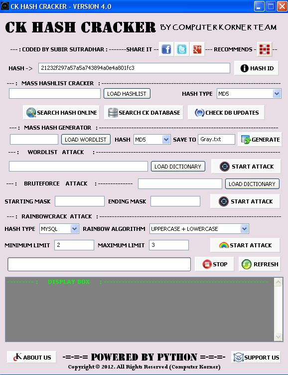 CK Hash Cracker (GUI) ~ COMPUTER KORNER
