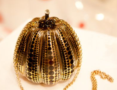 black and gold kusama pumpkin minaudiere handbag bag purse