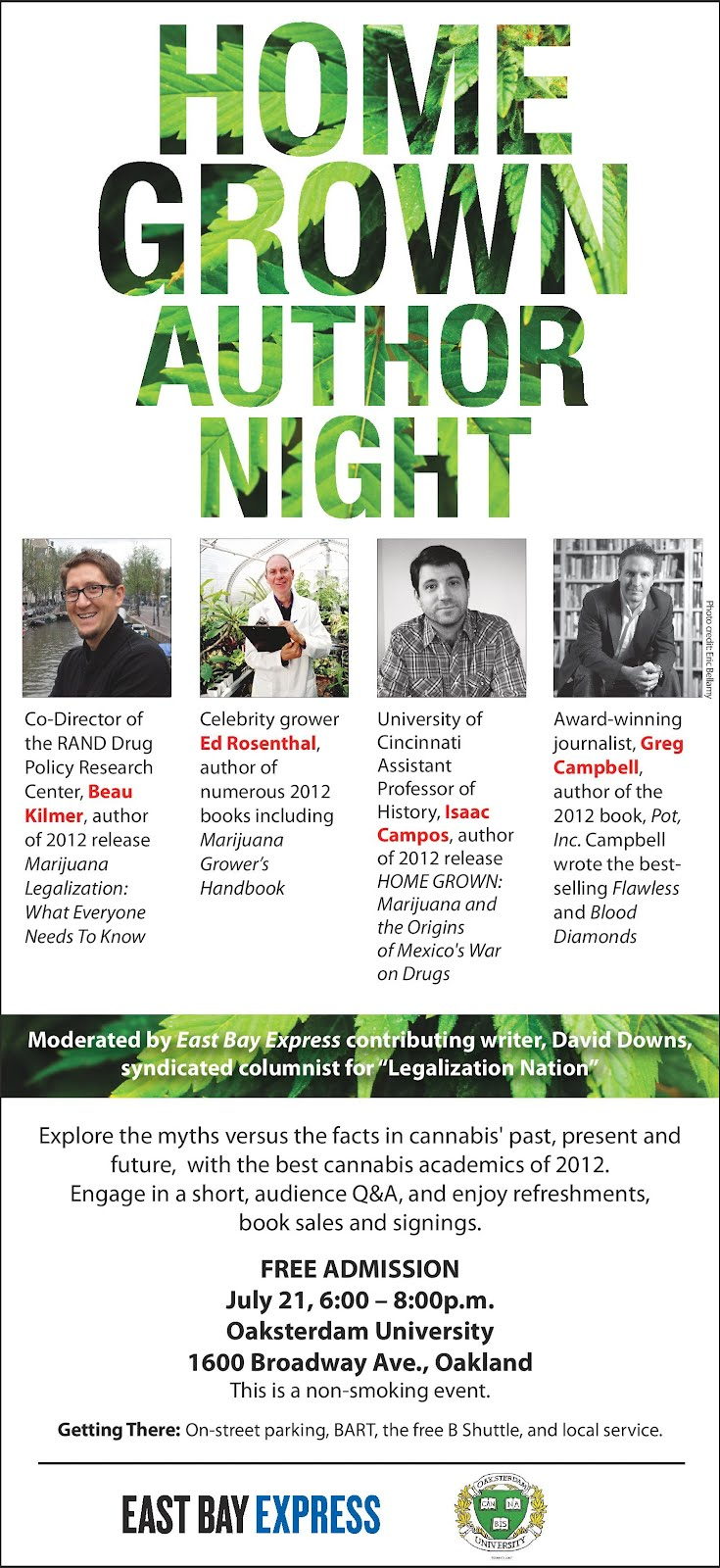 """HOME GROWN AUTHOR NIGHT"", July 21, Oaksterdam University"
