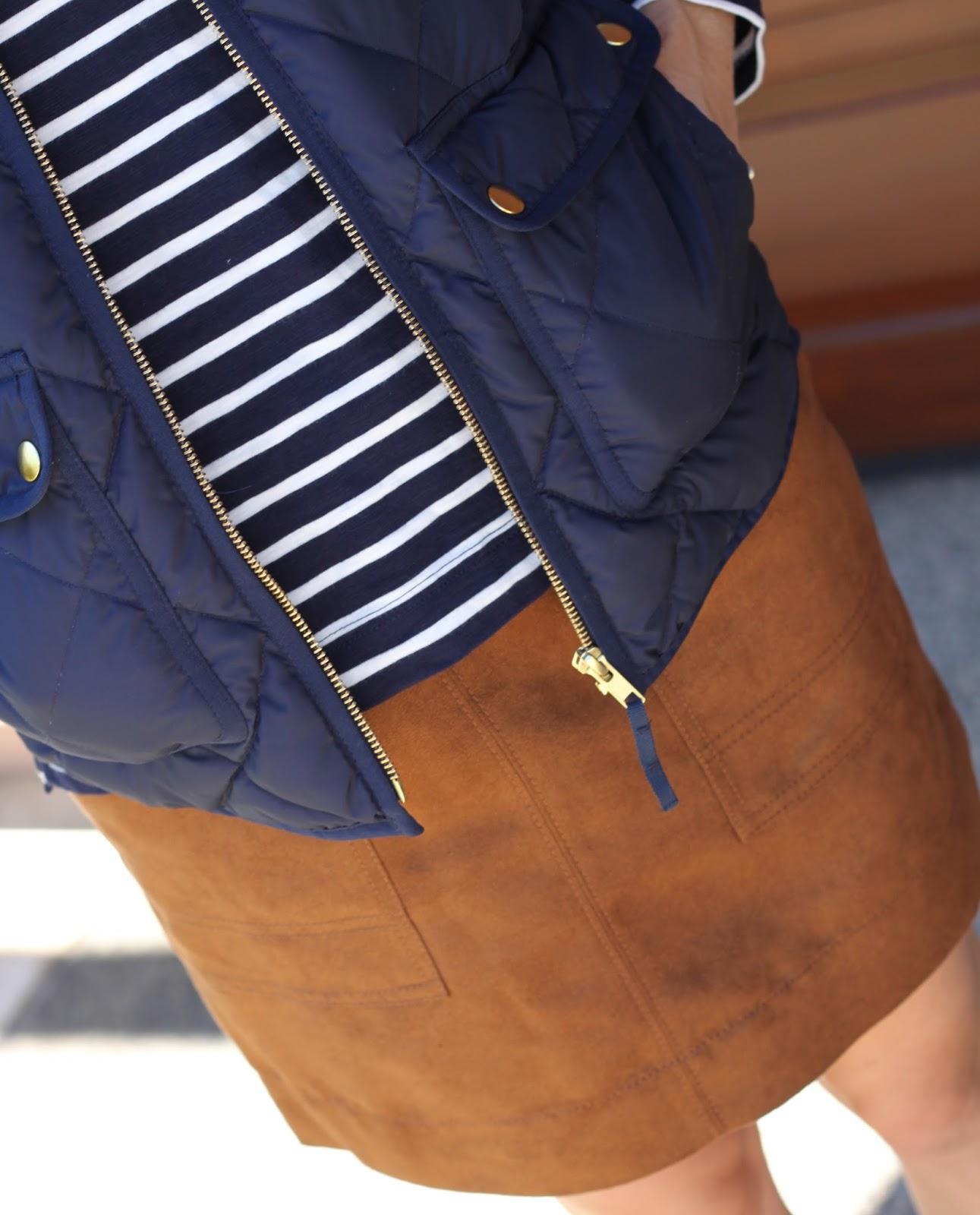 navy stripes and vest