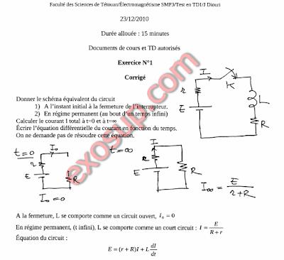 FS-Tétouan exerices corrigés électromagnétisme smp s3