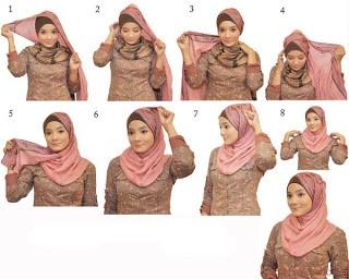 cara berhijab dengan jilbab model  terbaru