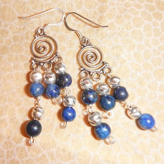 sterling silver, lapis lazuli, lapislázuli, earrings, brujaness, brujaness's workshop