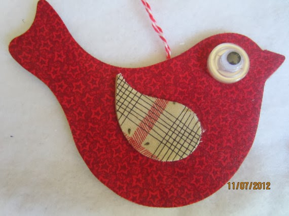 red hanging bird Christmas ornament by Pear Creek Cottage