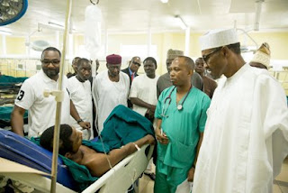 President Buhari visits survivors of Abuja bomb explosions