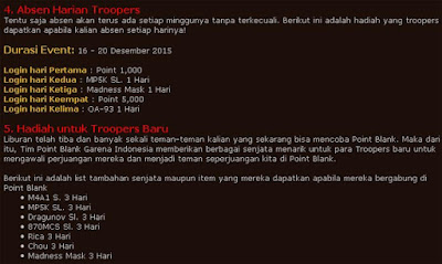 Event Point Blank Garena Indonesia Terbaru Desember 2015