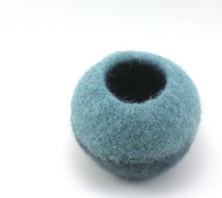 green felted wool bubble bowl