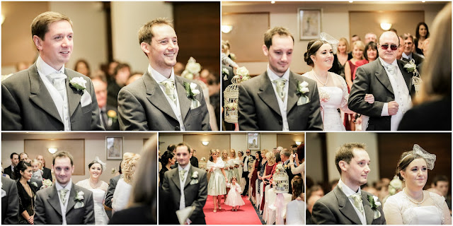 collage of wedding photos during bride's entrance