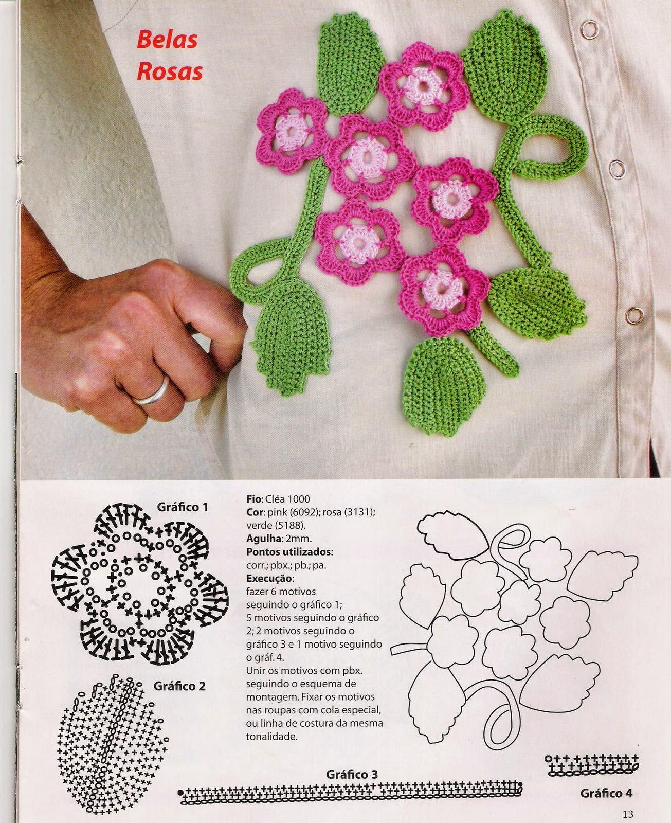 Вязание крючком аппликация цветы 92