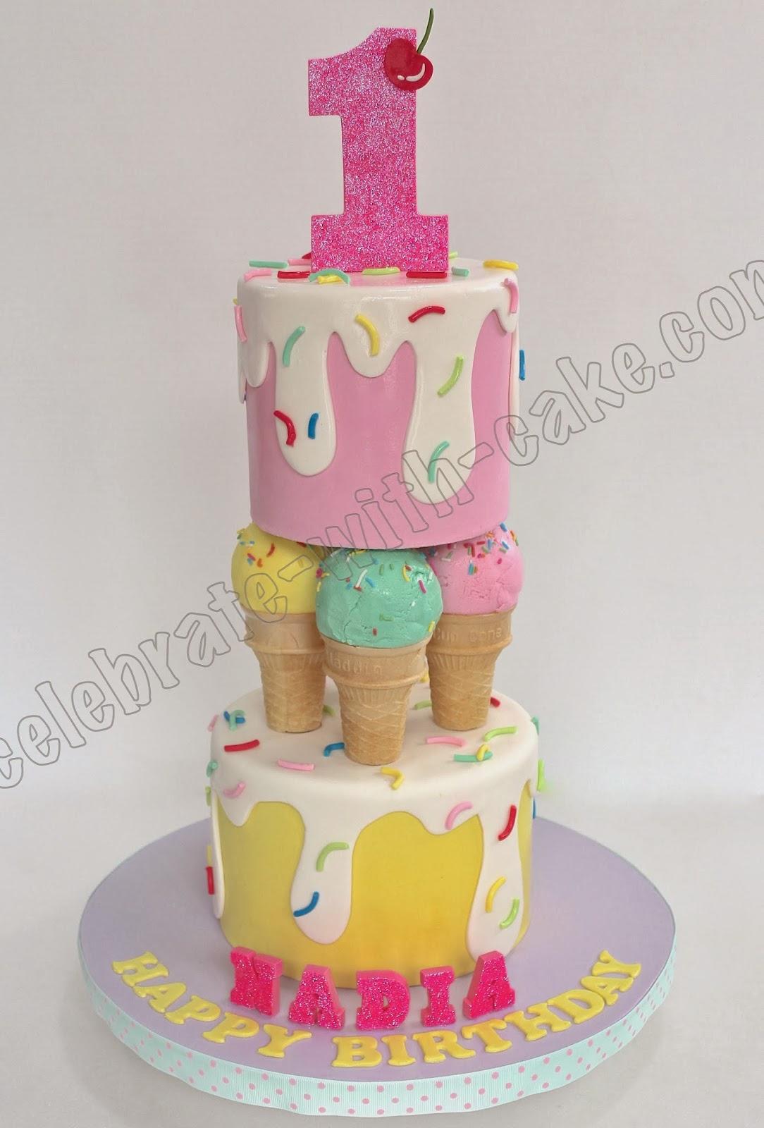Celebrate With Cake Ice Cream Themed 1st Birthday