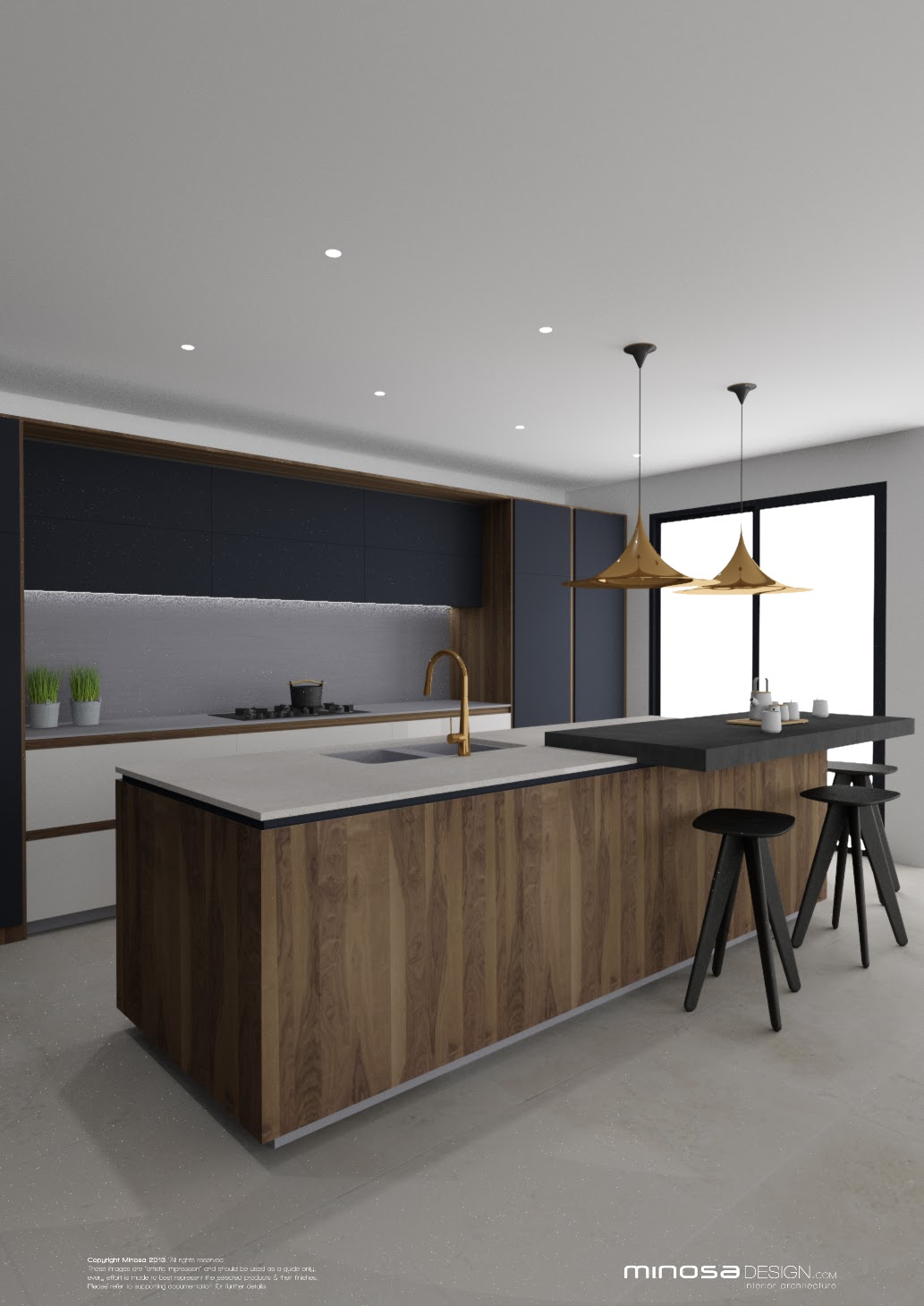 Minosa striking kitchen design with rich wood copper for Kichan dizain