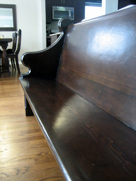 The grain of the wood really comes through now that the church pew has been lovingly restored.
