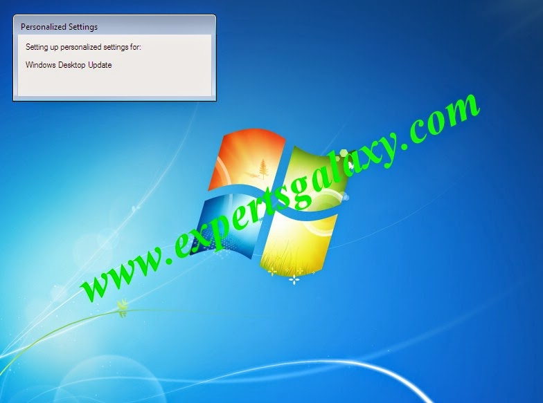 Windows 7 Personalized Settings Screen