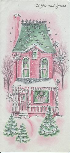 Pink Christmas Cottage Love
