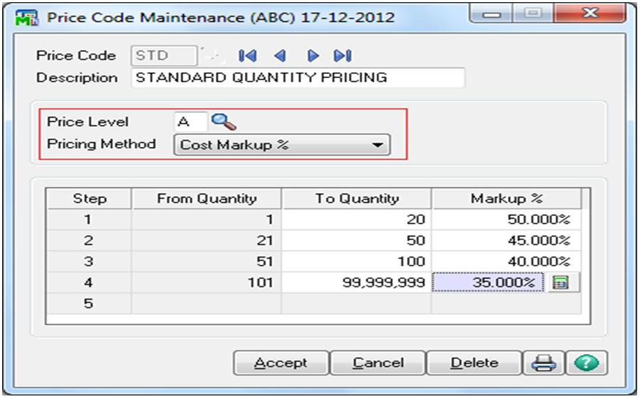 Assign Item Price based on Cost and Quantity in Sage 100 ERP ...