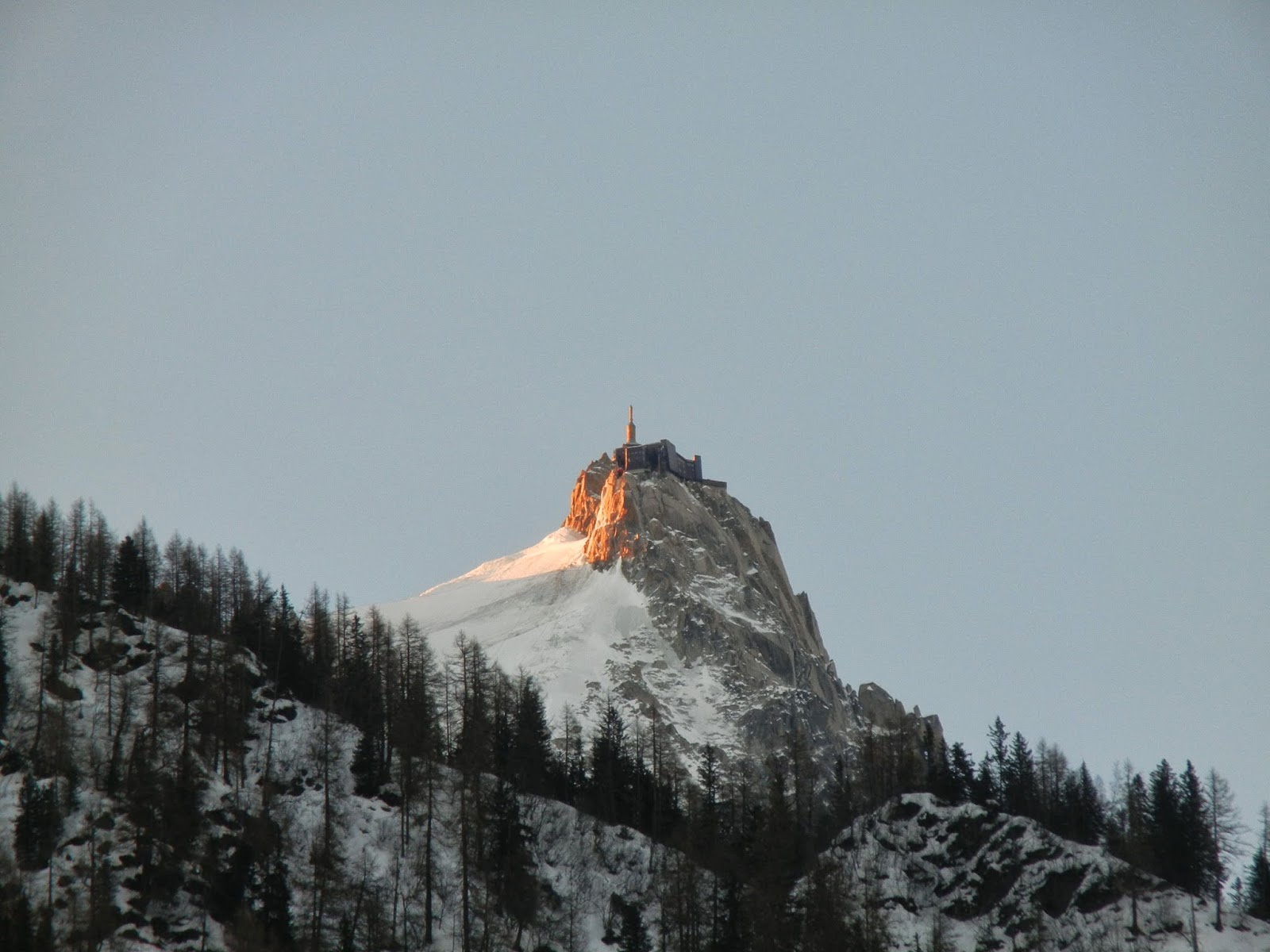 Aiguille de Midi in Chamonix early morning