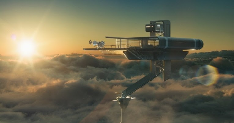 The house is attached to a pole, floating above the clouds.