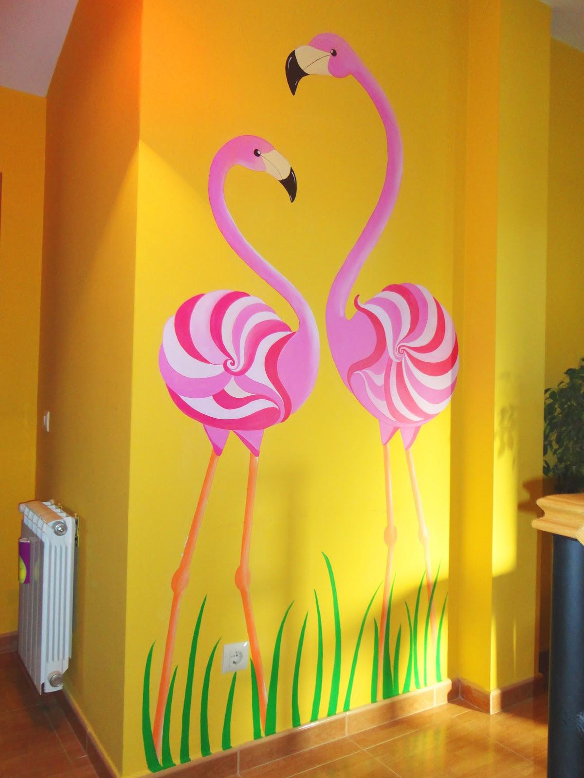 Decopared mural pintado flamencos for Pintar murales en paredes exteriores