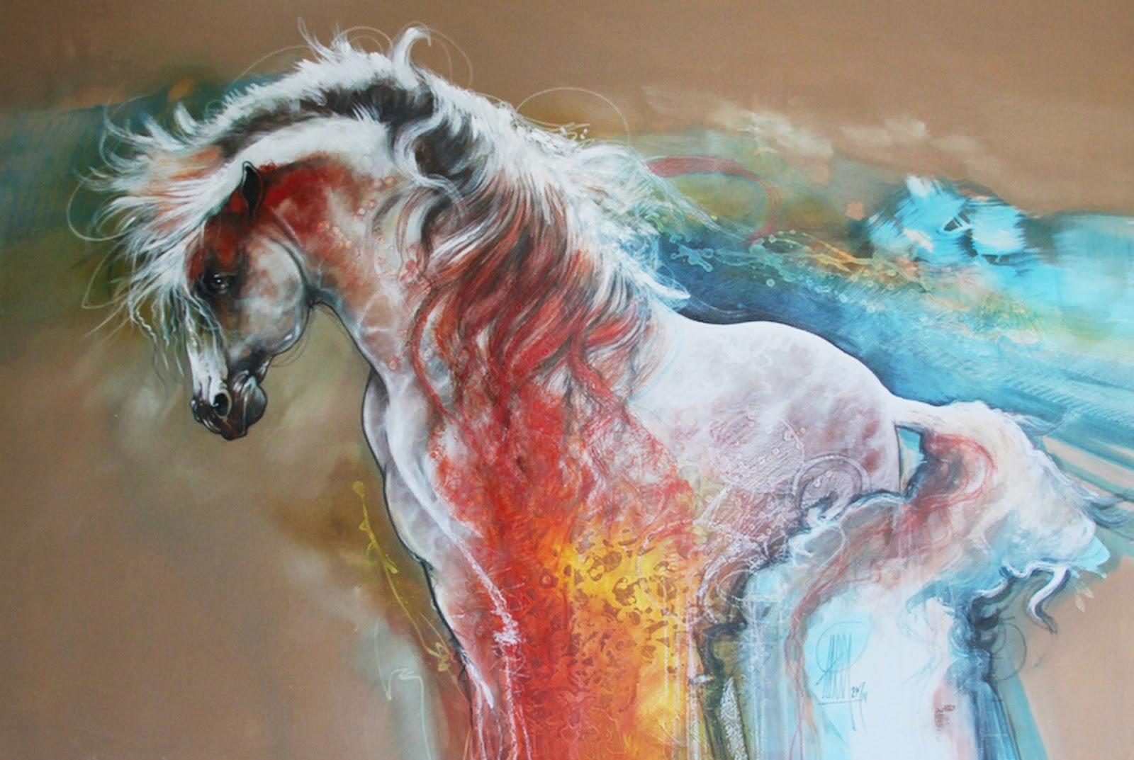 Pinturas cuadros lienzos cuadros modernos con caballos de - Pintura cuadros modernos ...