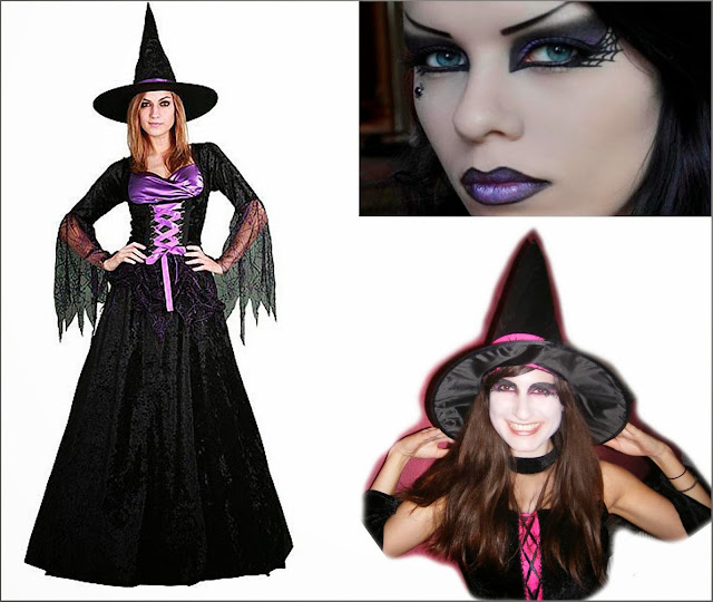 Disfraz bruja barato y maquillaje bruja.