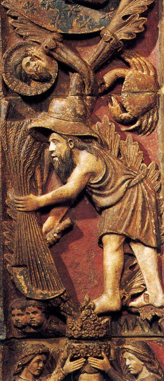 13th century bas-relief of the month of June, Central door, Basilica San Marco, Venice