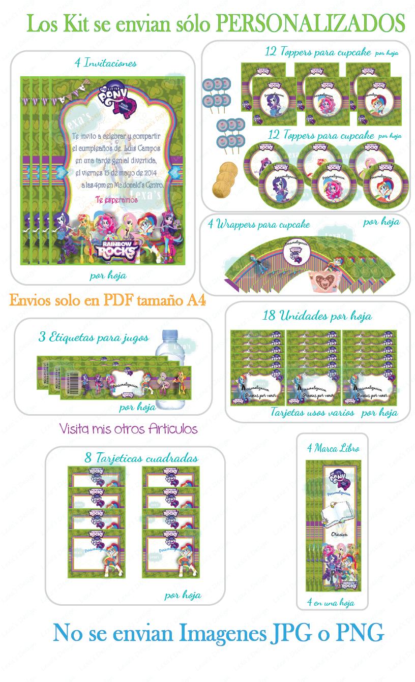 descarga Kit Imprimible Fiesta candy bar Equestria Pony Girls gratis