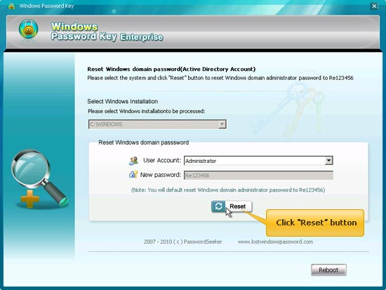 reset vista administrator password