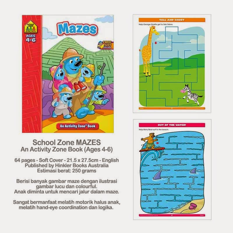 Book Cover School Zone ~ Planet bayi school zone mazes an activity book ages