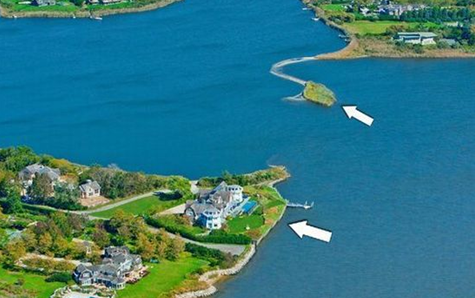 helicopter view of water mill mansion and private island in mecox bay