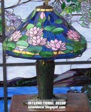 stained glass table lamp, stained glass in the interior